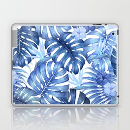 Blue tropical pattern  (monstera leaves and bird of paradise flowers Laptop & iPad Skin