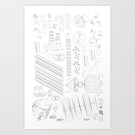 Wireframe Party Art Print