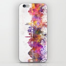Delhi skyline in watercolor background iPhone Skin