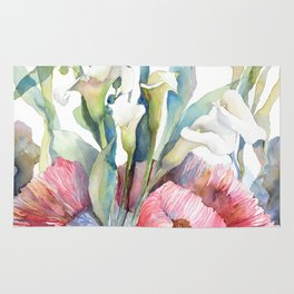 White Calla Lily And Cs Seaweed Watercolor Surreal Botanical Underwater Rug