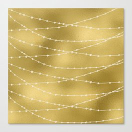 Merry christmas- white winter lights on gold pattern Canvas Print