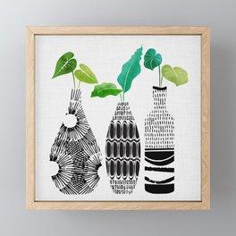 Black and White Tribal Vases Framed Mini Art Print