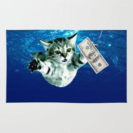 Cat Nevermind Album Cover under Water Baby Rug
