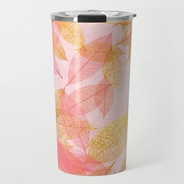 Autumn - world - gold leaves on pink Travel Mug