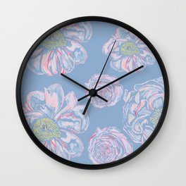 Abstract Flowers Blue #society6 #buyart Wall Clock