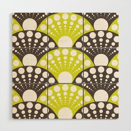 brown and lime art deco inspired fan pattern Wood Wall Art