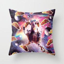Thug Space Cat On Cheetah Unicorn With Taco Throw Pillow