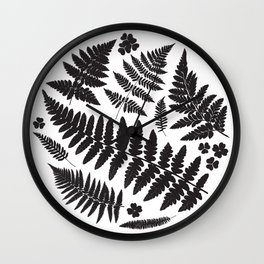 Black and White Ferns Wall Clock