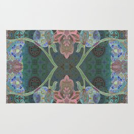 Elegant Detailed Orchid Meditation Pattern Rug