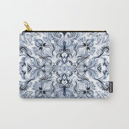 Indigo, Navy Blue and White Calligraphy Doodle Pattern Carry-All Pouch