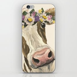 Cow Art, Flower Crown Cow Art iPhone Skin