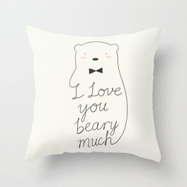 I love your beary much Throw Pillow