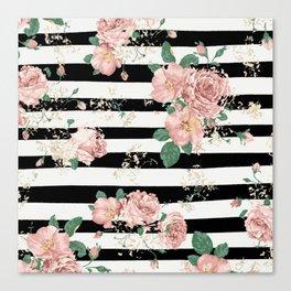 VINTAGE FLORAL ROSES BLACK AND WHITE STRIPES Canvas Print