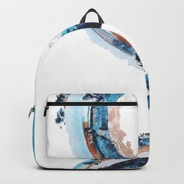 Galaxies Collide: a minimal, abstract watercolor in blues and pink by Alyssa Hamilton Art Backpack