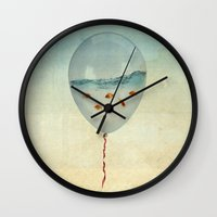 black Wall Clocks featuring balloon fish by Vin Zzep