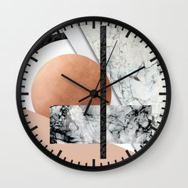 Collage II ( marble, copper, volcanic rock) Wall Clock