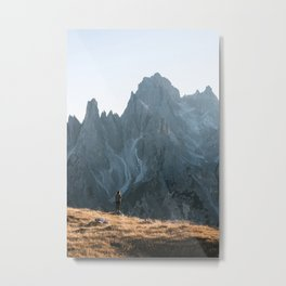 Dolomites mountain range in italy with hiker sunset - Landscape Photography Metal Print