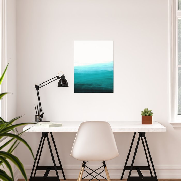 Ombre background in turquoise Poster