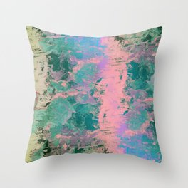 Pink and Green Paint Throw Pillow