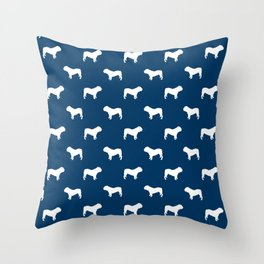 English Bulldog pattern navy and white minimal modern dog art bulldogs silhouette Throw Pillow
