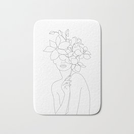 Minimal Line Art Woman with Orchids Bath Mat
