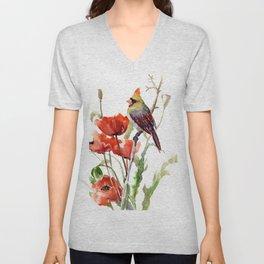 Cardinal And Poppy Flowers Unisex V-Neck