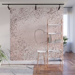 Sparkling ROSE GOLD Lady Glitter Heart #5 #decor #art #society6 Wall Mural