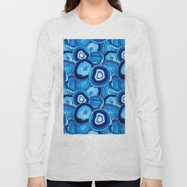 Geode Slices No.1 in Aquamarine + Sapphire Blue Long Sleeve T-shirt