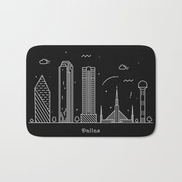 Dallas Minimal Nightscape / Skyline Drawing Bath Mat