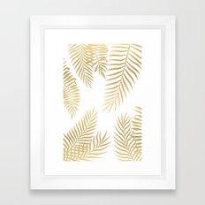 Gold palm leaves Framed Art Print