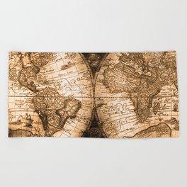 World Map Antique Vintage Maps Beach Towel