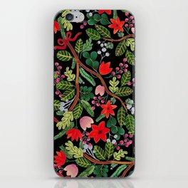 Christmas Floral Black iPhone Skin