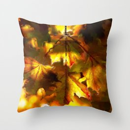 Sun kissed Sycamore leaves Throw Pillow