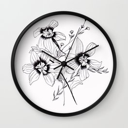 ' FLORAL ' flower drawing Wall Clock