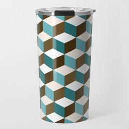 Cubes Pattern Teals Browns Cream White Travel Mug