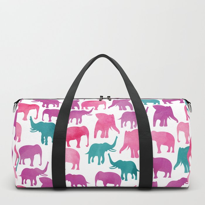 Watercolor Elephant Stampede Pretty Pattern Duffle Bag