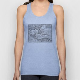 Vintage Map of the Caribbean (1732) BW Unisex Tank Top