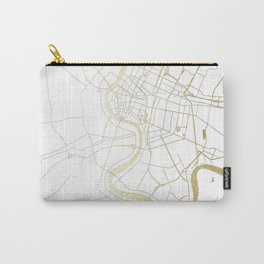 Bangkok Thailand Minimal Street Map - Gold Metallic and White II Carry-All Pouch