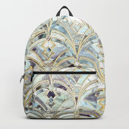 Pale Bright Mint and Sage Art Deco Marbling Backpack