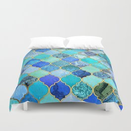 Cobalt Blue, Aqua & Gold Decorative Moroccan Tile Pattern Duvet Cover