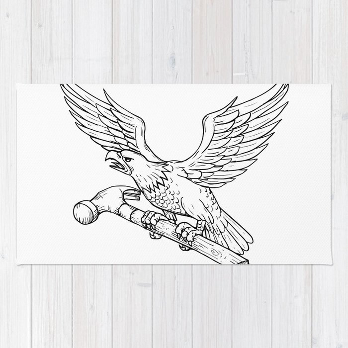 Eagle Clutching Hammer Drawing Rug
