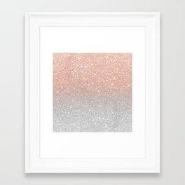 Modern trendy rose gold glitter ombre silver glitter Framed Art Print