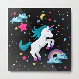 Unicorn in the night Metal Print