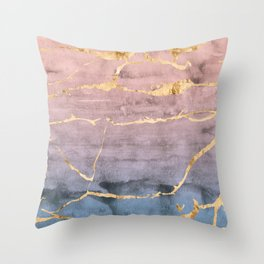 Watercolor Gradient Gold Foil Throw Pillow