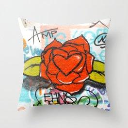 rose/heart graffitti Throw Pillow