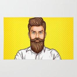 brutal bearded man, macho with tatoo Rug