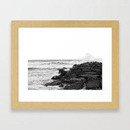 Black and White - Beach  Framed Art Print