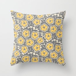 Flower Bouquet Pattern Gray and Yellow Throw Pillow