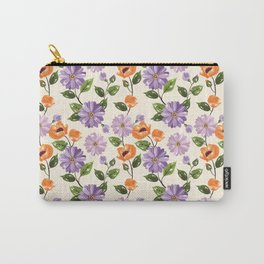 Rustic orange lavender ivory floral illustration Carry-All Pouch