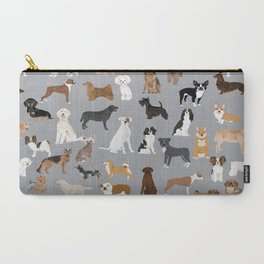 Mixed Dog lots of dogs dog lovers rescue dog art print pattern grey poodle shepherd akita corgi Carry-All Pouch